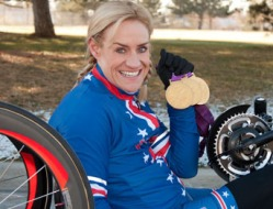 Muffy Davis with 3 Gold Medals she won in London 2012